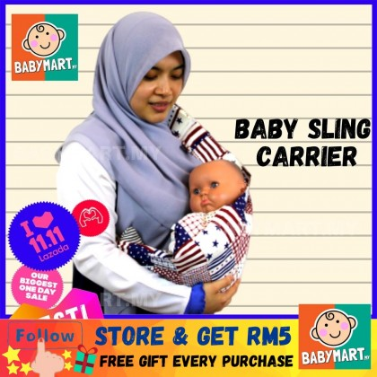 Cotton Baby Sling Carrier Adjustable Breathable Baby Mart Newborn to 3 Years Old 18kg BABYMART.MY