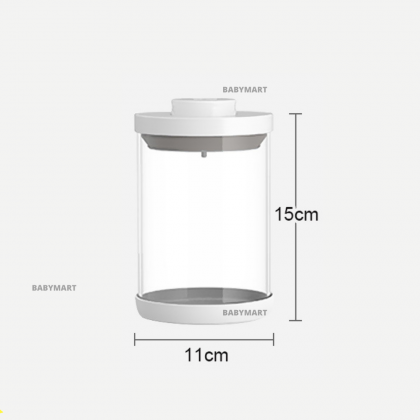 EZBABY Large-Capacity Airtight Container Round Glass With Scrapper, Spoon and Spoon Hanger Bekas Susu Bayi 大容量收纳盒