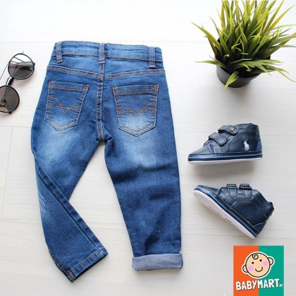 Young Boy Clothes Fashion Denim Clothing Long Pants Boys (RANDOM DESIGN) Slim Straight Jeans Casual Trousers Kids Baby