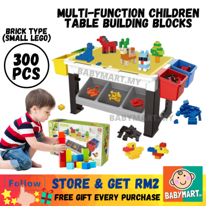 Kids DIY Multifunction Compatibles Building Block Type (BigLego) (69Pcs) Or Brick Type (SmallLego) (300Pcs) Playing Table Learning Desk For Study Drawing