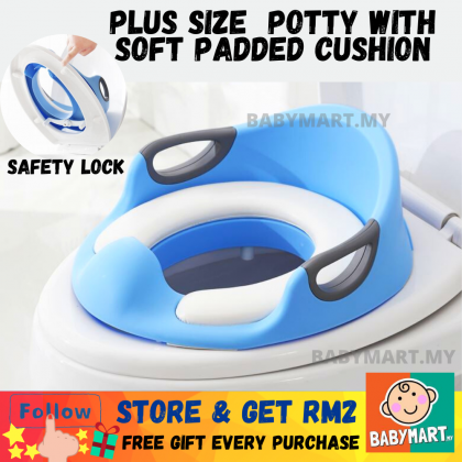 Plus Size Kids Toilet Seat Training Potty with Soft Padded And Safety Lock For 1-7 Years Old