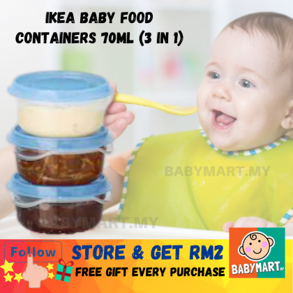 IKEA Pruta Ikea Baby Food Containers (3 IN 1) Food Container Transparent Blue 70ml