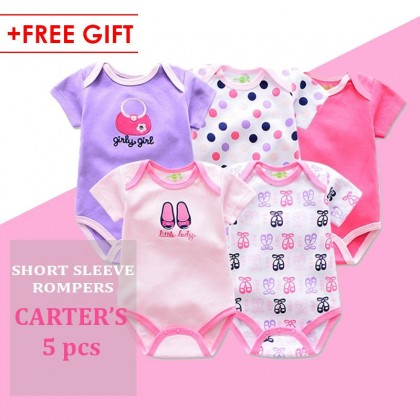 5pcs in a pack (BABY GIRLS) Carter's Cotton Romper (RANDOM DESIGN) baby fashion fullmoon newborn gift Christmas gift : BABYMART.MY Rompers Bodysuit, romper, romper women, rompers baby girl, rompers baby boy, romper baby, baby romper, baby romper girl