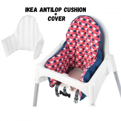 IKEA Antilop Supporting Cushion And Cover Set Red Blue Baby Dining Chair Support