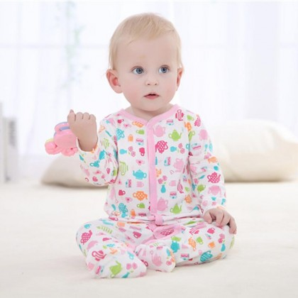 High Quality! 3pcs in a pack Carter's Blue Fly Baby Girl Sleep Suit Baby Rompers New Born Baby Clothing 100% Cotton Material Bodysuit (Random Design) Baju Tidur Baby Tutup Kaki