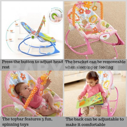 Fisher Price Infant To Toddler Rocker Pink Owl Sleeper Pink Owls Vibration Bouncer infant rocker music chair Fullmoon Birthday Gift + Free Gift [PINK] : BABYMART.MY Baby rocker bouncer, Rocker baby, Rocker Switch, Rocker chair, Baby rocker, Baby bed