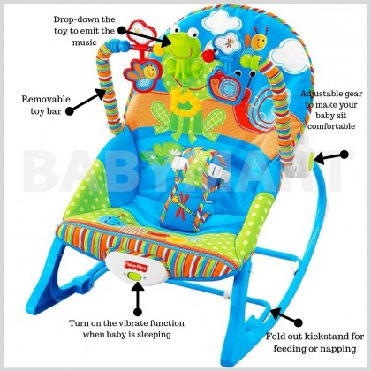 Fisher Price Baby to Toddler Portable Rocker Chair Froggie Vibration Bouncer Infant Soothing Chair + FREE GIFT [BLUE] : BABYMART.MY Baby rocker bouncer, Rocker baby, Rocker Switch, Rocker chair, Baby rocker, Baby bed, fisher price rocker
