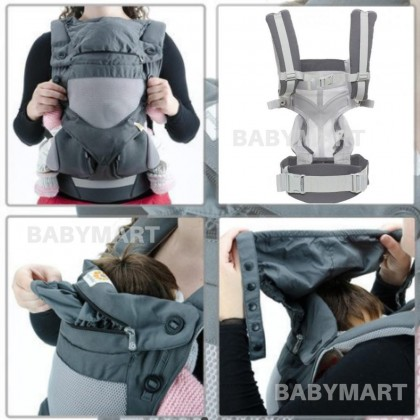 """Original Ergobaby Baby carrier 360° Cool Air Mesh for 4 carrying positions Carbon Grey Cool Breathable All Carry Positions Award-Winning Cool Mesh Ergonomic natural """"M"""" position baby to toddler"""