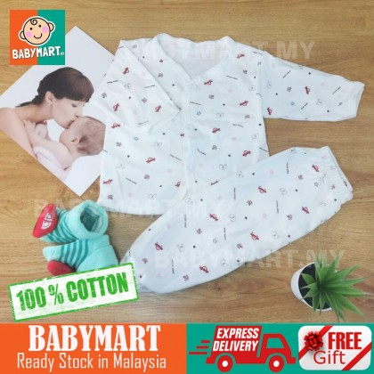 Ready Stock!! Newborn Set Baby Boy Girl Unisex Clothes 0-12 months Long Sleeve + Long Pant Clothing Sets Newborn Baby [RANDOM DESIGN]