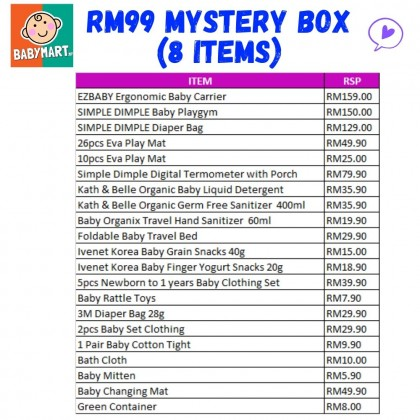 BabyMart [SURPRISE BOX] RM99 Newborn Mystery Gift For Baby Boy Girl Have The Opportunity To Get EZBABY Baby Carrier Simple Dimple Diaper Bag and Electronic Thermometer