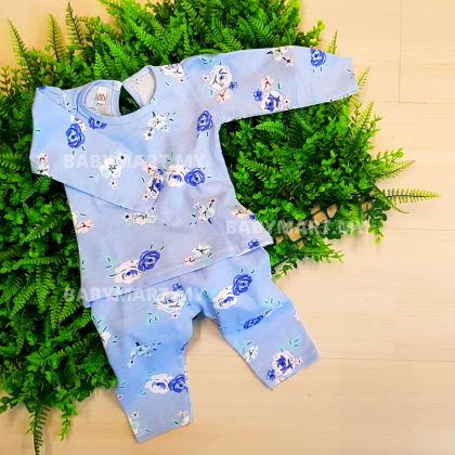 BABYMART 2Pcs 1Set Baby Cloth Girl Set Casual Wear For Newborn to 2 Years Old Top + Pants 100% Cotton Summer Pyjamas Long Sleeve Ready Stock!