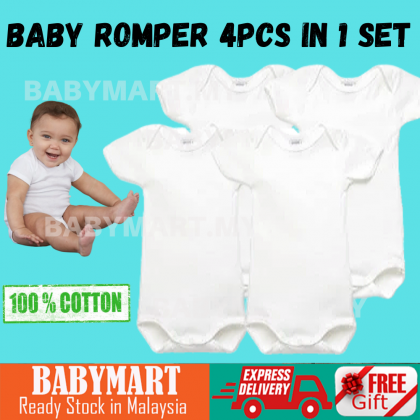 BABYMART.MY Baby Plain White Romper 4Pcs In 1 Set 100% Cotton Romper For Baby Boy And Girl Easy To Wear Comfort High Quality New arrival