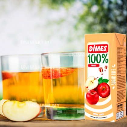 UNIMART DIMES 100% Apple 200ml Juice (1 CARTON : 27PACKS) Jus Epal Sebenar