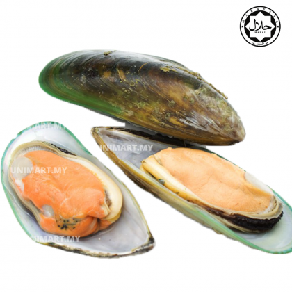 UNIMART Premium Imported Talley's Greenshell Mussel (Half Shell) New Zealand Fresh Frozen Fish Food (907g) (Halal Frozen Food Makanan Sejuk Beku Express Delivery within Klang Valley only) Steamboat BBQ Seafood