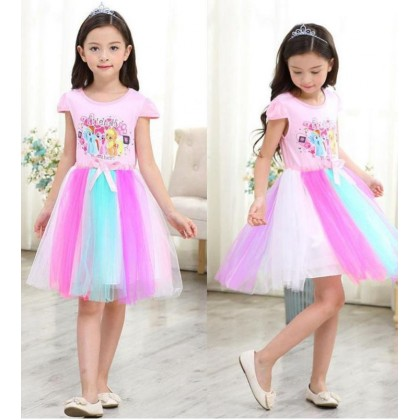 BABYMART Lace Sequins Girls Clothes My Little Pony Tutu Dress Pink for Kids Party Dress Rainbow Good Quality [RAYA SALE]