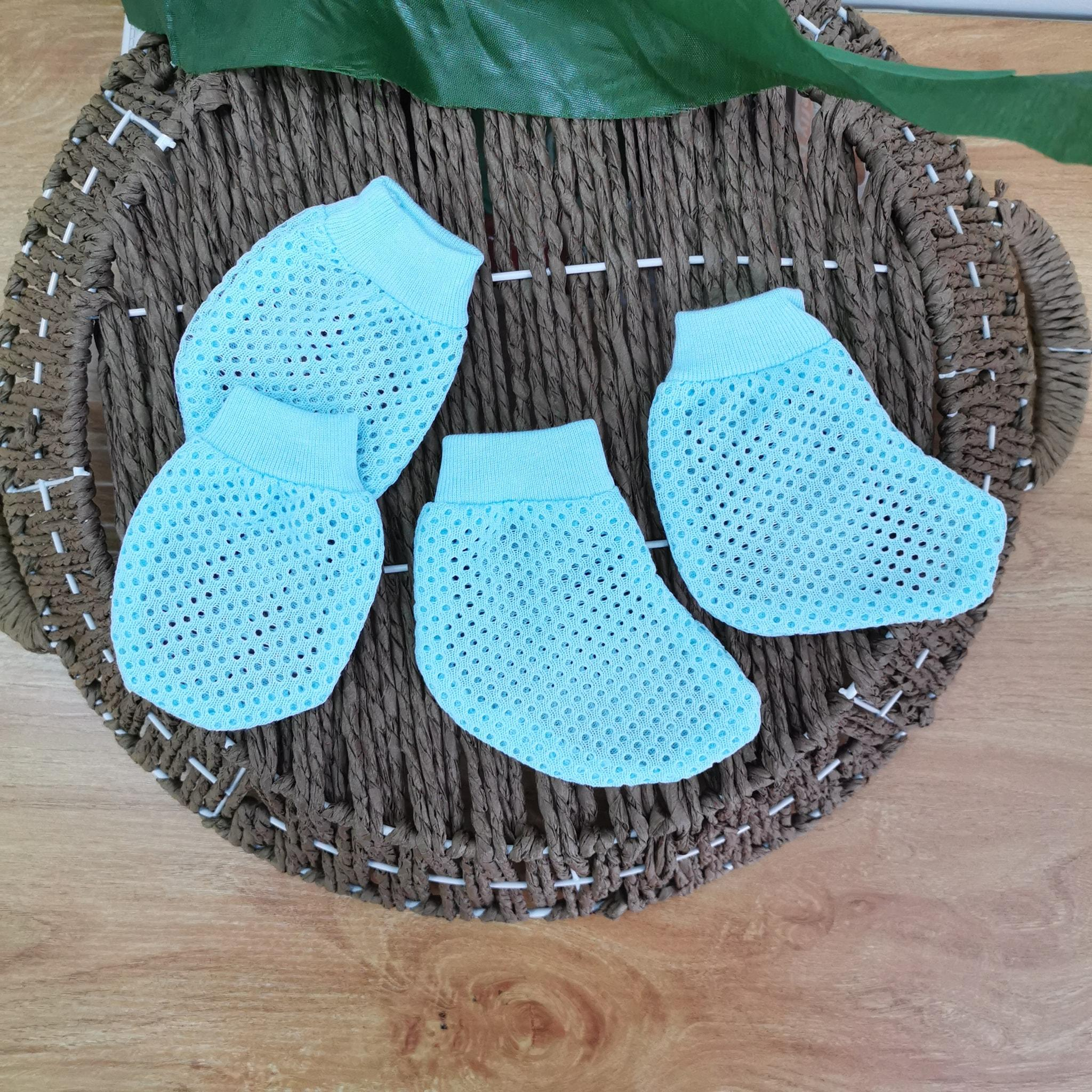 Flash Sales Baby Cotton Mitten and Bootie Set Newborn Must Have Keep Tiny Feet Warm One Pair Cotton Net Plain Eyelet Suitable Hot Weather Smooth Comfort Baby Footwear Baby Mart