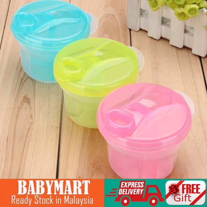 Ready Stock! 3 Section Baby Milk Powder Dispenser and Snack Formula Food Container Storage Feeding Box Portable Infant Toddler Children : BABYMART.MY milk dispenser, milk storage, milk container, baby milk dispenser, food container, snack storage