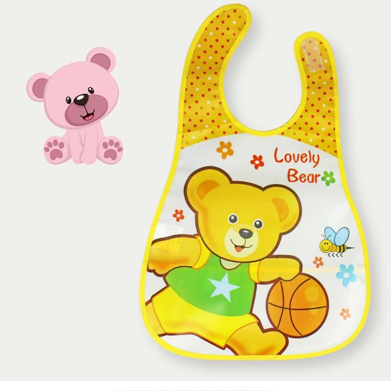 High Quality! Waterproof Baby Kids Food Bib with Food Catcher Adjustable Neck Detachable Tray Easily Wipe Clean [Random Design]