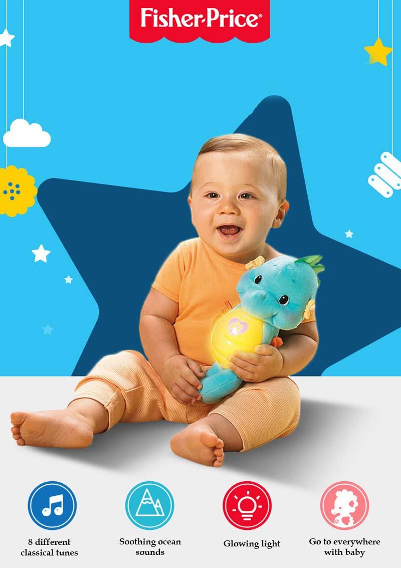 Fisher Price Soothe and Glow Seahorse Sound Soothing Music and Light to Appease the Little Hippocampus from Newborn Baby : BABYMART.MY