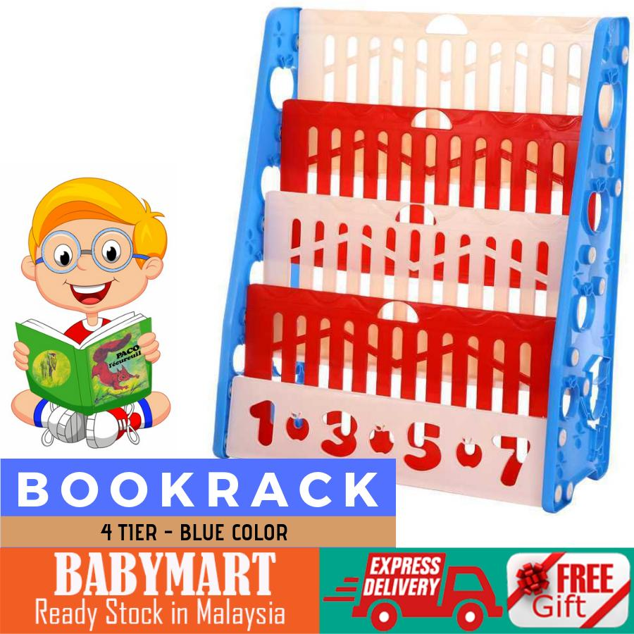 4 Tier Plastic Kids Bookcase Bookshelf Toy Book Storage Display 4 Tier Book Rack Baby Kindergarten School Child Care Study + FREE GIFT : BABYMART  Book shelf, book rack, books, book shelf rack, book cabinet, book stand , bookcase, book holder, bookmark