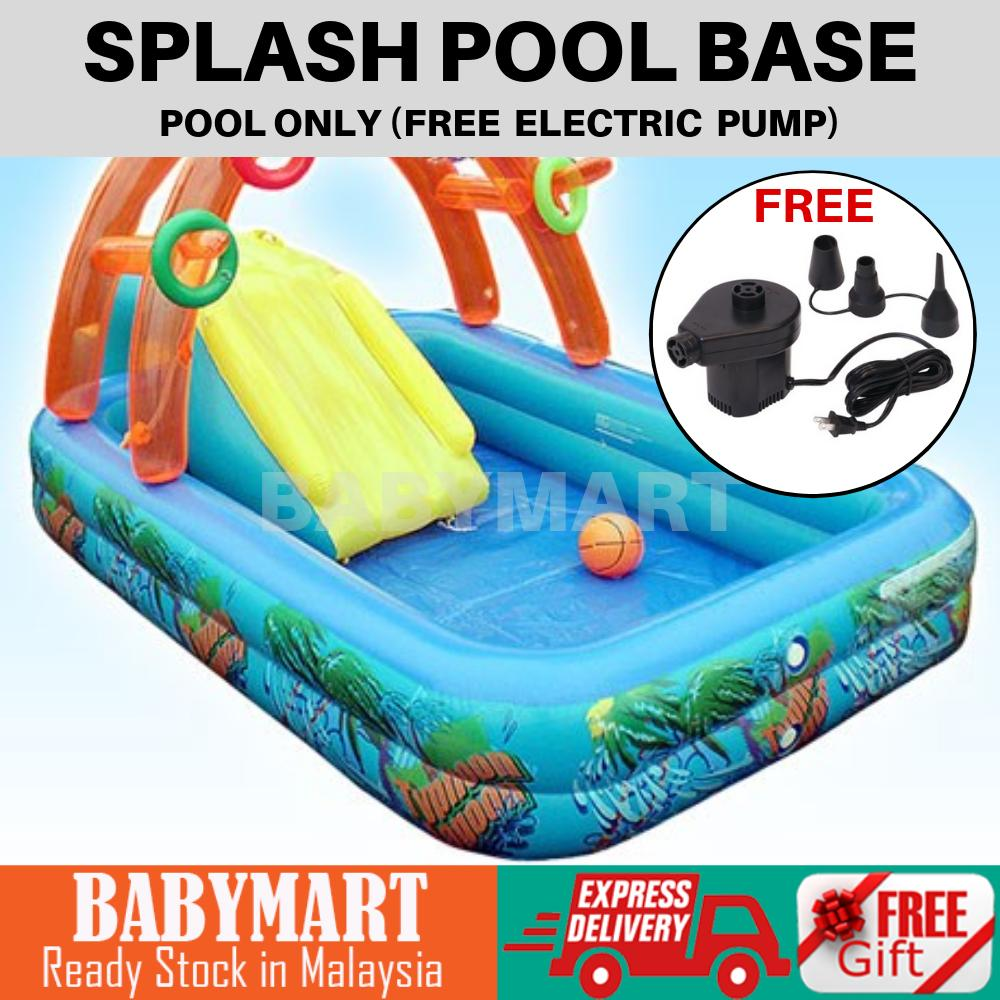 Splash Pool Base Only Free Electric Pump Inflatable Swimming Pool Play Outdoor Water Pool Thick Quality 210cm x140cm x45cm Family Pool Kids Toy Indoor Outdoor Sport Activity : BABYMART.MY Swimming Pool for Kids, Swimming Pool, Swimming Suit, Swimming