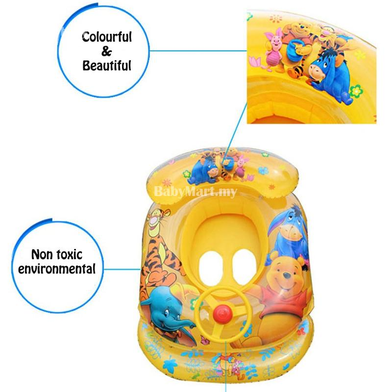 Kids Children Swimming Float Car Boat Baby Inflatable Boat with Steering Wheel Seat Safety Aid Bath Birthday Gift + FREE GIFT: BABYMART.MY Swimming Pool for Kids, Swimming Pool, Swimming Suit, Swimming Goggles, Swimming Suit Women, Swimming Float,Swimming