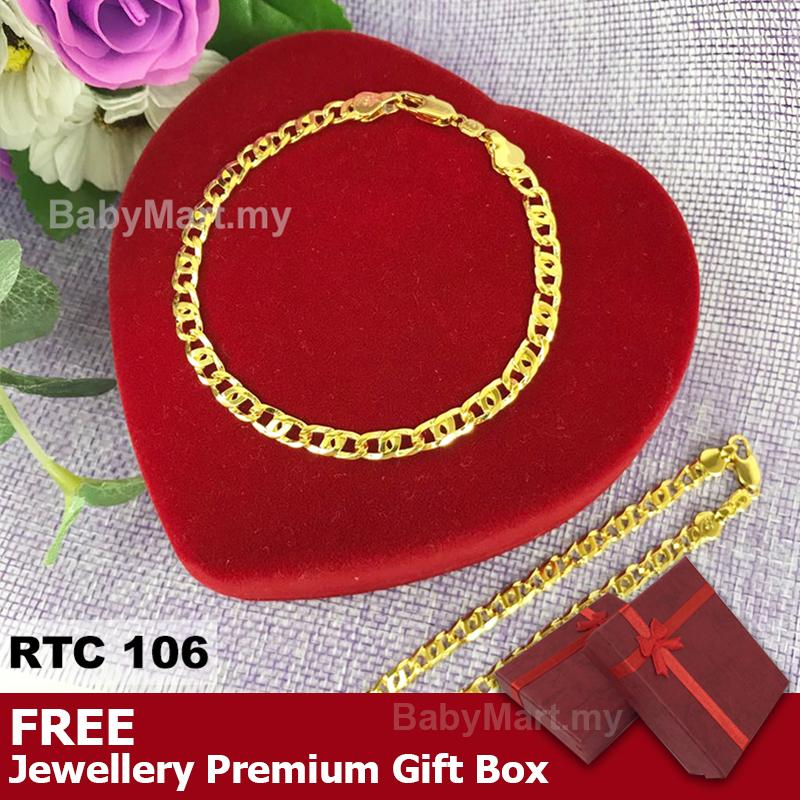 Promotion! Ready stock !!! 24k Gold Korea Plated High Quality Premium Bracelet Bangle Gift For Women Girls Fashion Jewelry Korean Style Long Lasting (RTC106) : BABYMART.my