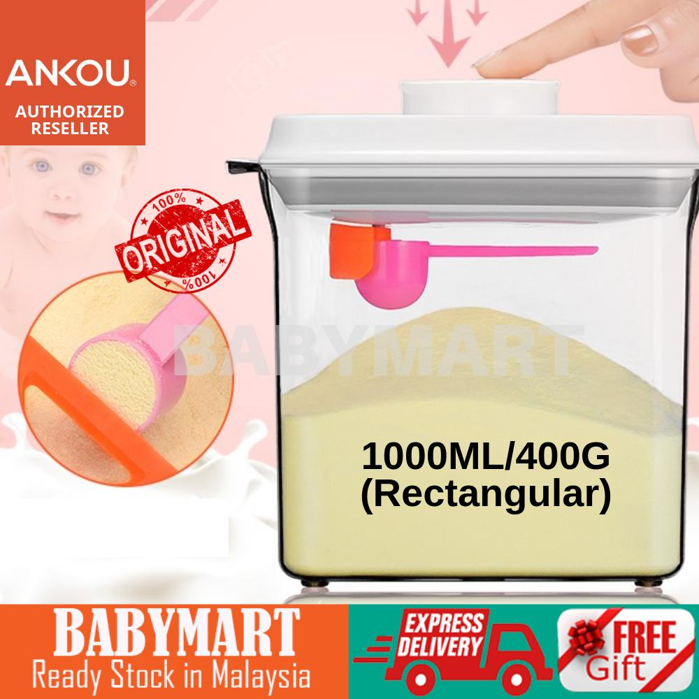 Ankou Air Tight Milk Powder Container With Scraper - Rectangle (1000ml) for 400gram milk powder BPA Free air tight food container baby food storage food jar food container Bekas Susu Tepung Powder Air Tight Container with Spoon Milk Powder Container