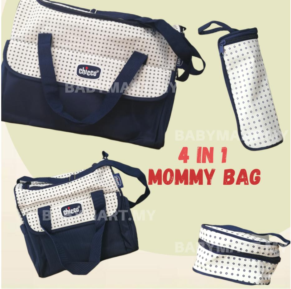 4 IN 1 Chicco Shoulder Mommy Bag Diaper Travel Bag Beg Bayi Simpan
