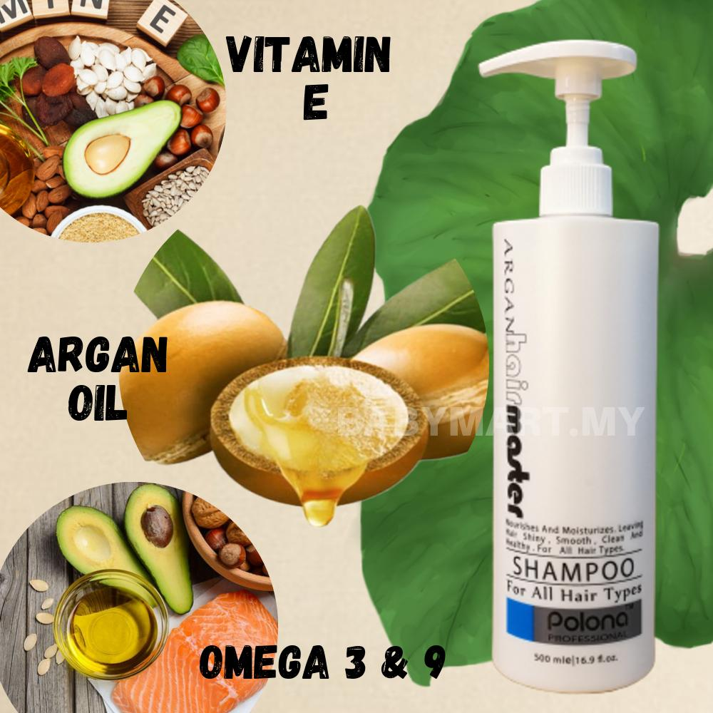 [BUY 1 FREE 1] Argan Oil Hair Master Polona Professional Saloon Pack Dry Damage Hair Shampoo Men Women Syampu Rambut  500ml