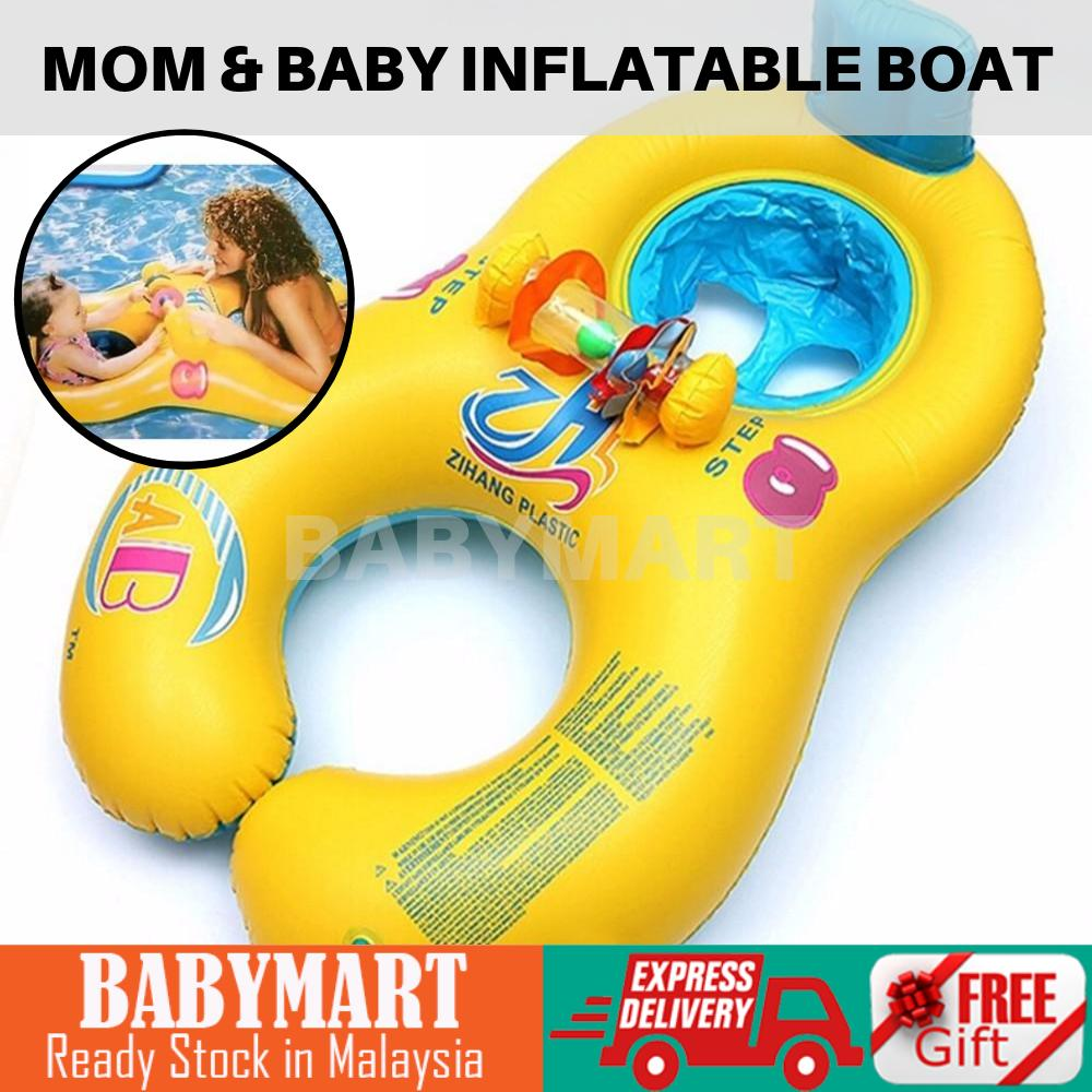 Mother & Baby Inflatable Boat Mom & Kids Swimming Float Ring Seat Float Boat : BABYMART.MY Swimming Pool for Kids, Swimming Pool, Swimming Suit, Swimming Goggles, Swimming Suit Women, Swimming Float, Swimming Suit Kids, Swimming Cap