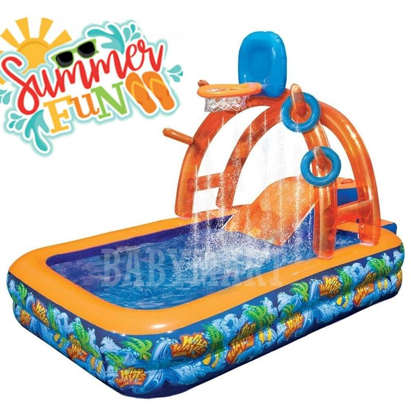 Banzai Inflatable Swimming Pool For Kids & Family Splash & Play Pool with Inflatable Basketball Net and Slide Kids Kolam Renang Kanak-Kanak : BABYMART.MY Swimming Pool for Kids, Swimming Pool, Swimming Suit, Swimming Goggles, Swimming Suit Women,