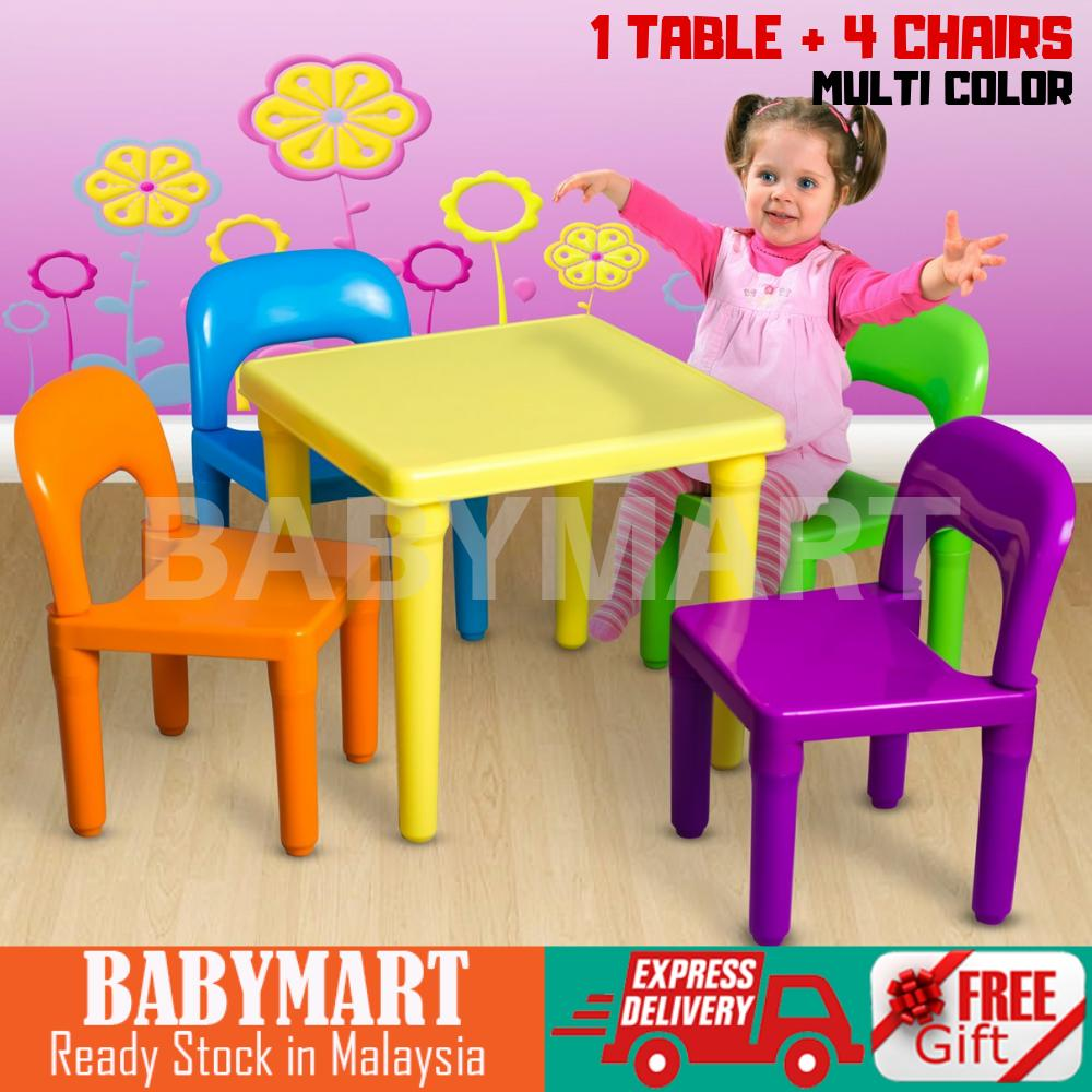 Kids Table and Chair Set Study Children Toddler Activity Play Room Children Kids  Furniture Colouful Learning Table Kindergarden colour set : BABYMART.MY study table study deskstudy table for studentstudy lamp study chair study table for kids meja study